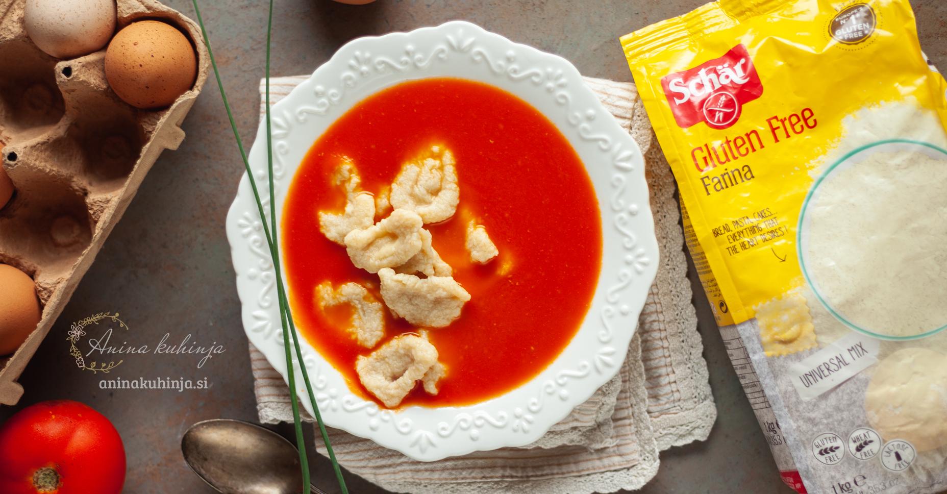 Paradižnikova juha z ekspresnimi domačimi brezglutenskimi testeninami